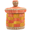 African Basket - Burundi Raffia Coil Weave Canister - 6.75 Inches Tall - #72151