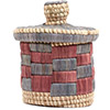 African Basket - Burundi Raffia Coil Weave Canister - 7 Inches Tall - #72154