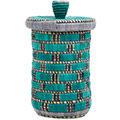 African Basket - Burundi Raffia Coil Weave Canister -  9.5 Inches Tall - #72163
