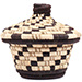 African Basket - Burundi Raffia Coil Weave Canister - 5 Inches Tall - #73084