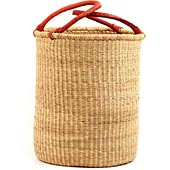 African Basket - Ghana Bolga - Laundry Hamper, Open Top Small - 15 Inches Across - #67630