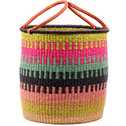 African Basket - Ghana Bolga - Laundry Hamper, Open Top Extra Large - 19 Inches Across - #74483