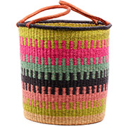 African Basket - Ghana Bolga - Laundry Hamper, Open Top Large - 18 Inches Across - #74493