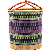 African Basket - Ghana Bolga - Laundry Hamper, Open Top Large - 17.5 Inches Across - #74496