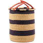 African Basket - Ghana Bolga - Laundry Hamper, Open Top Small - 14.5 Inches Across - #74498