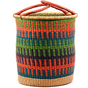 African Basket - Ghana Bolga - Laundry Hamper, Open Top Medium - 16.5 Inches Across - #74499