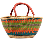 African Basket - Ghana Bolga - Gambibgo Shopping Basket - 22 Inches Across - #74512