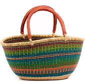 African Basket - Ghana Bolga - Gambibgo Shopping Basket - 21.5 Inches Across - #74513