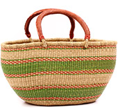 African Basket - Ghana Bolga - Gambibgo Shopping Basket - 20.5 Inches Across - #74515