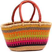 African Basket - Ghana Bolga - Gambibgo Shopping Basket - 18.5 Inches Across - #74516