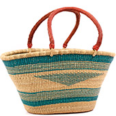 African Basket - Ghana Bolga - Gambibgo Shopping Basket - 20.5 Inches Across - #74517