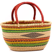 African Basket - Ghana Bolga - Gambibgo Shopping Basket - 18.5 Inches Across - #74518