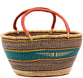 African Basket - Ghana Bolga - Gambibgo Shopping Basket - 19 Inches Across - #74519