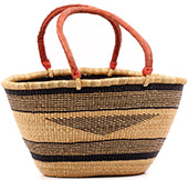 African Basket - Ghana Bolga - Gambibgo Shopping Basket - 20 Inches Across - #74520