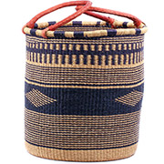 African Basket - Ghana Bolga - Laundry Hamper, Open Top Large - 18.5 Inches Across - #74929