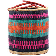 African Basket - Ghana Bolga - Laundry Hamper, Open Top Large - 18 Inches Across - #74931