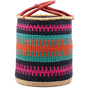 African Basket - Ghana Bolga - Laundry Hamper, Open Top Medium - 16 Inches Across - #74933