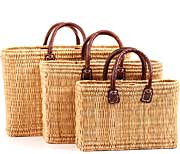 African Basket - Morocco - Set of 3 Bulrush Totes - #MR305