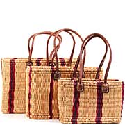 African Basket - Morocco - Set of 3 Cranberry Stripes Bulrush Totes - #MR310