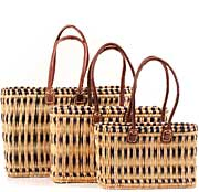 African Basket - Morocco - Set of 3 Navy Stripes Bulrush Totes - #MR315