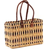 African Basket - Morocco - Medium Navy Stripes Bulrush Tote - Approximately 16 Inches Across - #MR315-B