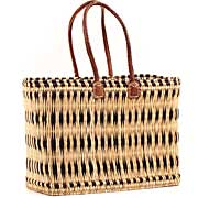 African Basket - Morocco - Large Navy Stripes Bulrush Tote - Approximately 18 Inches Across - #MR315-C