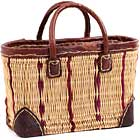 African Basket - Morocco - Small Cranberry Stripes and Leather Trim Tote - Approximately 13 Inches Across - #MR320-A