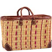 African Basket - Morocco - Large Cranberry Stripes and Leather Trim Tote - Approximately 18 Inches Across - #MR320-C