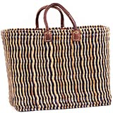 African Basket - Morocco - Medium Navy Pin Stripes Bulrush Tote - Approximately 18 Inches Across - #MR330-B