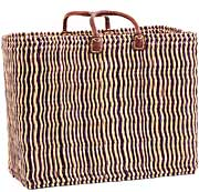 African Basket - Morocco - Large Navy Pin Stripes Bulrush Tote - Approximately 20 Inches Across - #MR330-C