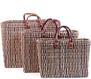 African Basket - Morocco - Set of 3 Navy Pin Stripes Bulrush Totes - #MR330