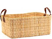 African Basket - Morocco - Large Rectangular Bulrush Basket - #MR3C05-C