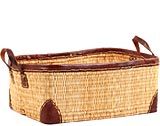 African Basket - Morocco - Medium Leather Trim Rectangular Bulrush Basket - #MR3C10-B