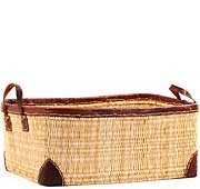 African Basket - Morocco - Large Leather Trim Rectangular Bulrush Basket - #MR3C10-C