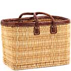 African Basket - Morocco - Medium Leather Trim Rectangular Bulrush Basket - #MR405-B