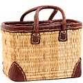 African Basket - Morocco - Small Leather Trim Rectangular Bulrush Basket - #MR410-A