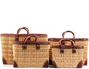 African Basket - Morocco - Set of 3 Leather Trim Rectangular Bulrush Totes - #MR410