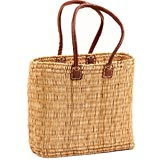 African Basket - Morocco - Large Long-Handled Bulrush Tote - Approximately 15 Inches Across - #MR907-C