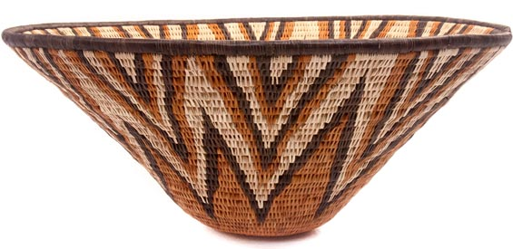 African Basket - Makalani Bowl - 15.25 Inches Across - #48456