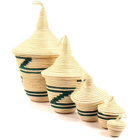 African Basket - Rwandan Peace Baskets - Nesting Set of 5 - #26260