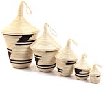 African Basket - Rwandan Peace Baskets - Nesting Set of 5 - #26282