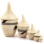 African Basket - Rwandan Peace Baskets - Nesting Set of 5 - #26288