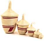 African Basket - Rwandan Peace Baskets - Nesting Set of 5 - #26294
