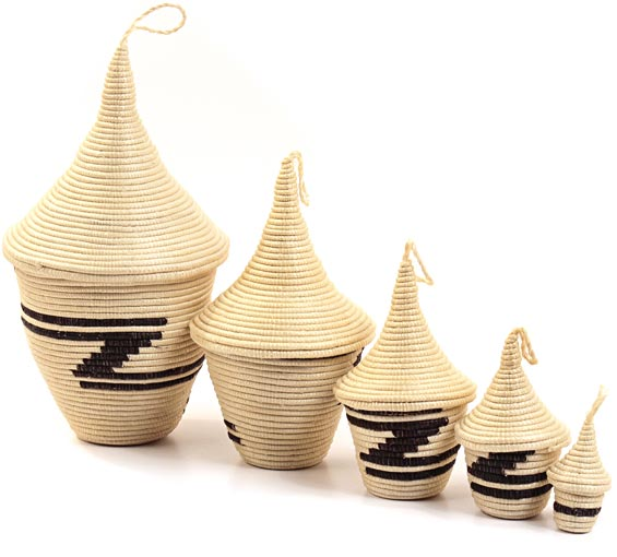 African Basket - Rwandan Peace Baskets - Nesting Set of 5 - #26295