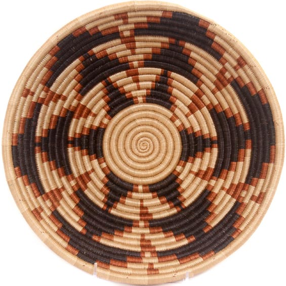 African Basket - Rwanda Sisal Coil Weave Bowl - 12 Inches Across - #33820