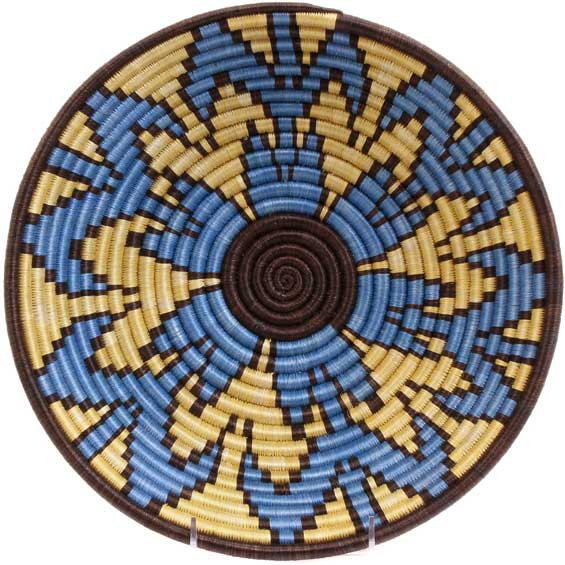 African Basket - Rwanda Sisal Coil Weave Bowl - 12 Inches Across - #56915