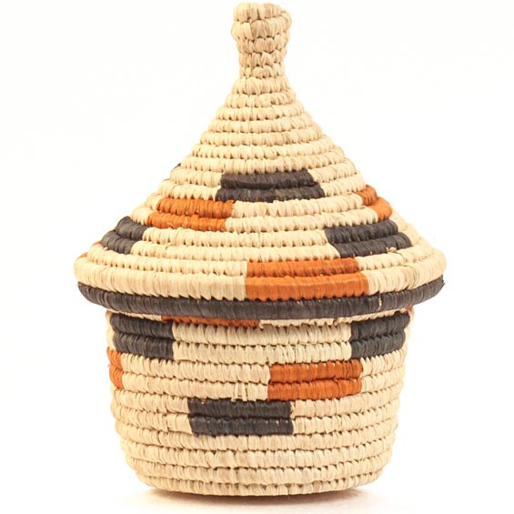 African Basket - Uganda - Rwenzori Lidded Basket, Small -  3.5 Inches Across - #31788