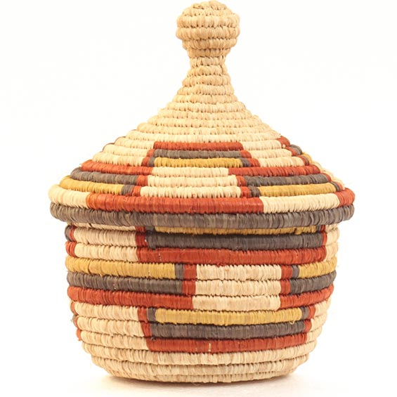 African Basket - Uganda - Rwenzori Lidded Basket, Small -  4 Inches Across - #31791