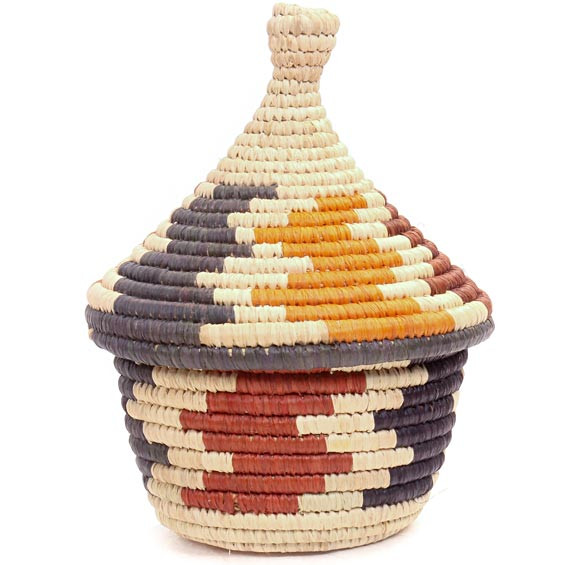African Basket - Uganda - Rwenzori Lidded Basket, Small -  4 Inches Across - #44828