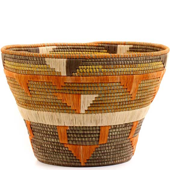 African Basket - Uganda - Virunga Cargo Basket - 16 Inches Across - #57412